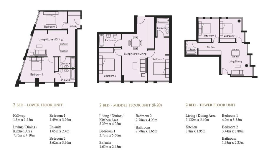 Floorplans For Hadrians Tower, Newcastle Upon Tyne